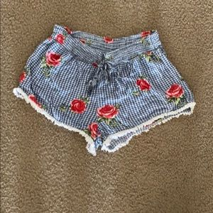 Rose and Gingham Shorts